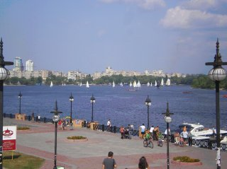 Proposed regatta course on an arm of the Dnieper.