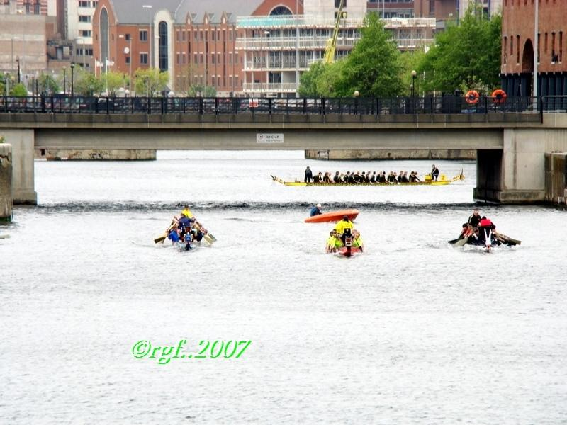 dragonboats at the docks of Liverpool